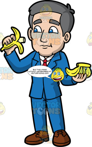 Bob Eating A Banana. A mature man with gray hair, wearing a blue suit, white shirt, red tie, and brown shoes, eating a banana