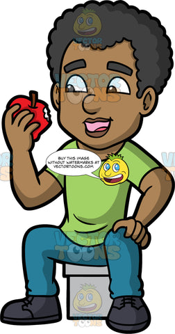 Jimmy Eating An Apple. A black man wearing blue pants, a green shirt, and black shoes, sitting on a stool and eating a juicy red apple