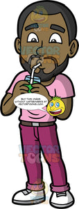 Calvin Drinking A Healthy Green Smoothie. A black man wearing magenta pants, a light pink t-shirt, and white shoes, standing and drinking a green smoothie through a straw