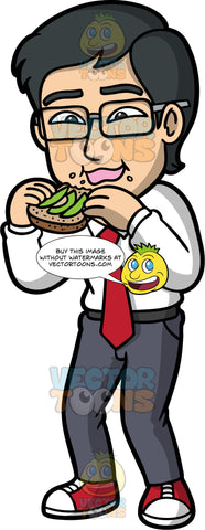 Simon Eating Avocado On Toast. An Asian man wearing dark gray pants, a white dress shirt, a red tie, red and white sneakers, and eyeglasses, enjoying a piece of toast with avocado on it