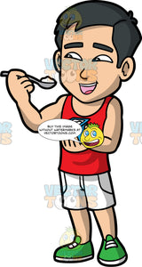 Kevin Eating A Yogurt. An Asian man wearing white shorts, a red tank top, and green running shoes, standing and eating a yogurt