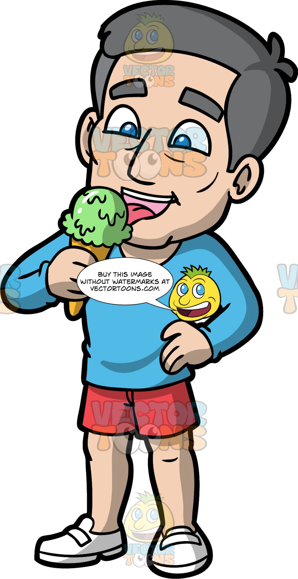 Bob Eating Mint Ice Cream. A mature man wearing red shorts, a long sleeve blue shirt, and white shoes, enjoying an ice cream cone on a hot day