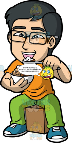 Simon Eating A Bowl Of Chocolate And Vanilla Ice Cream. An Asian man wearing lime green pants, an orange t-shirt, blue running shoes, and eyeglasses, sitting on a box and putting a spoonful of chocolate and vanilla ice cream in his mouth