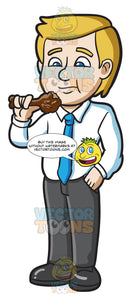 An Businessman Eating A Chicken Drumstick