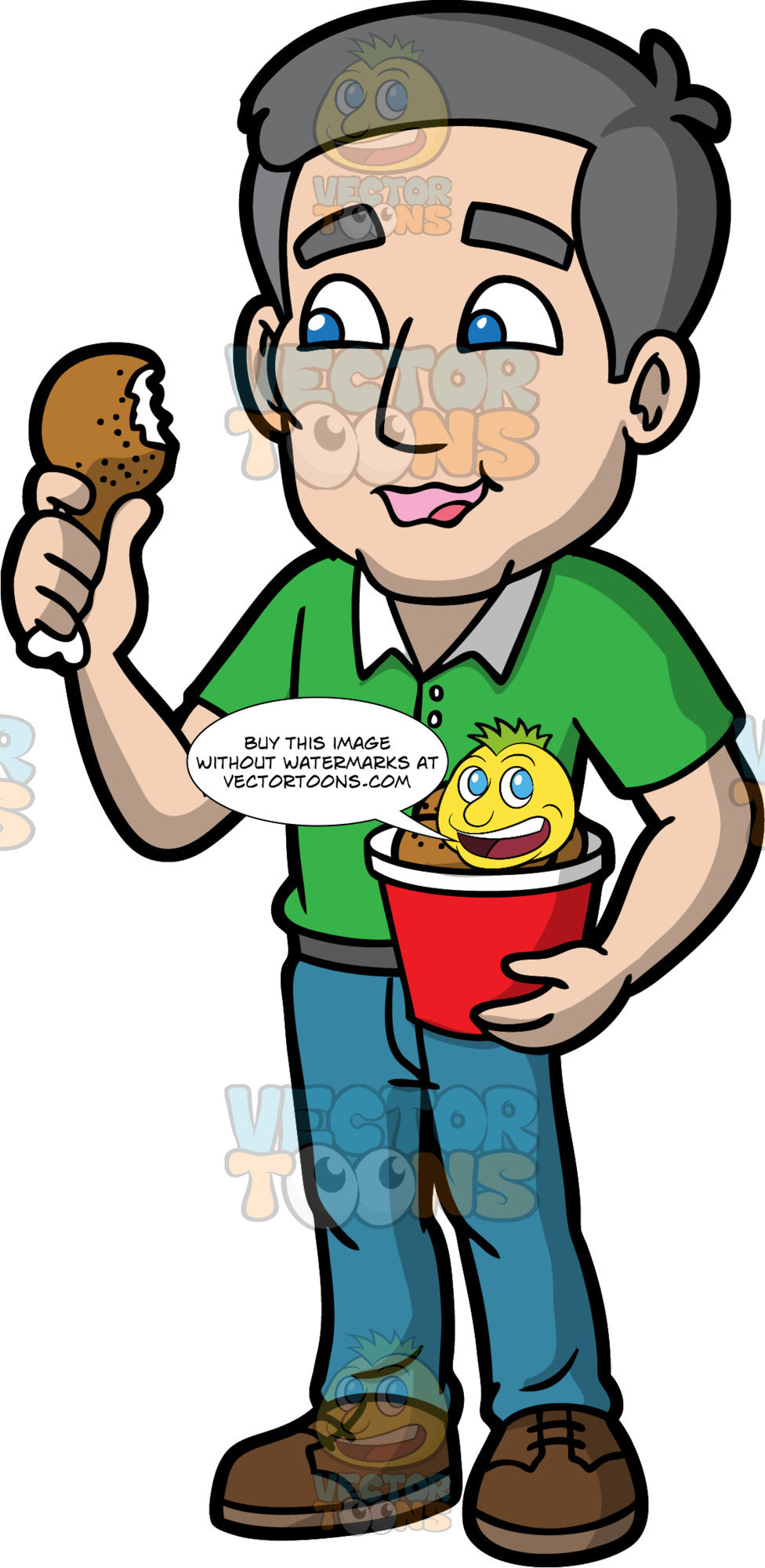 Bob Eating A Piece Of Fried Chicken. A mature man with gray hair, wearing blue pants, a green golf shirt, and brown shoes, enjoying a fried chicken leg
