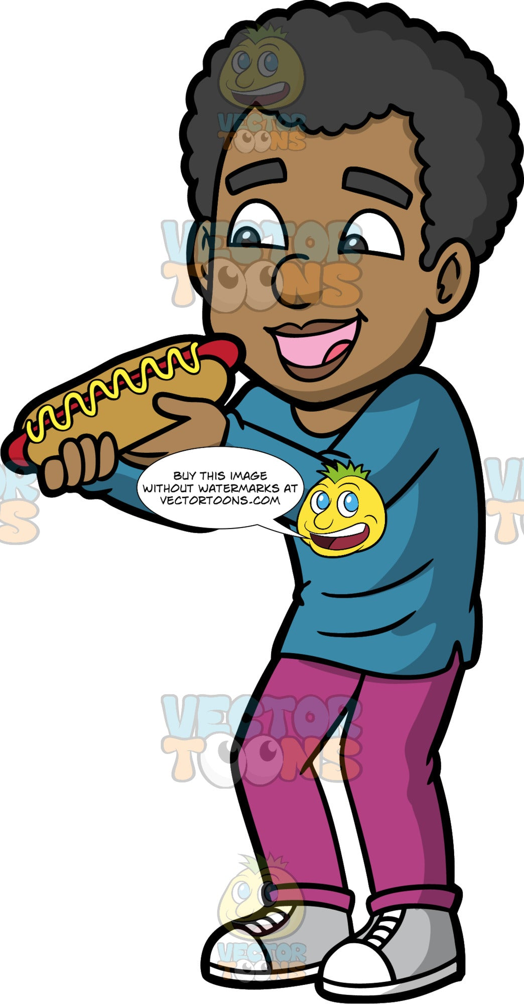 Jimmy Eating A Hot Dog. A black man wearing fuchsia coloured pants, a long sleeve blue shirt, and light gray running shoes, opening his mouth and getting ready to eat a hot dog with mustard