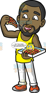 Calvin Eating Pizza. A black man with a beard, wearing white pants, a yellow tank top, and orange running shoes, eating a big slice of pizza