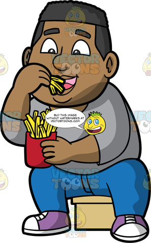 James Eating French Fries. A black man wearing blue pants, a light gray shirt, and purple and white sneakers, sitting on a stool and eating french fries from a red paper container