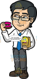 Simon Eating A Donut. An Asian man wearing dark gray pants, a white dress shirt, blue tie, and dark brown shoes, eating a pink glazed donut and holding a paper hand in one hand