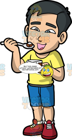Kevin Eating A Piece Of Cake. An Asian man wearing blue shorts, a yellow t-shirt, and burgundy boots, opening his mouth and getting ready to eat a piece of chocolate cake with vanilla frosting