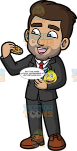 Gabriel Eating A Chocolate Chip Cookie. A Hispanic man wearing a dark gray suit, white shirt, red tie, and brown shoes, holding a jar of cookies under one arm, as he opens his mouth and brings his other hand towards it so he can eat the cookie in his hand