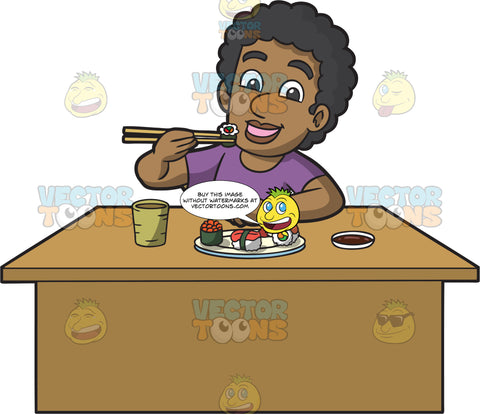 A Black Man Eating Sushi