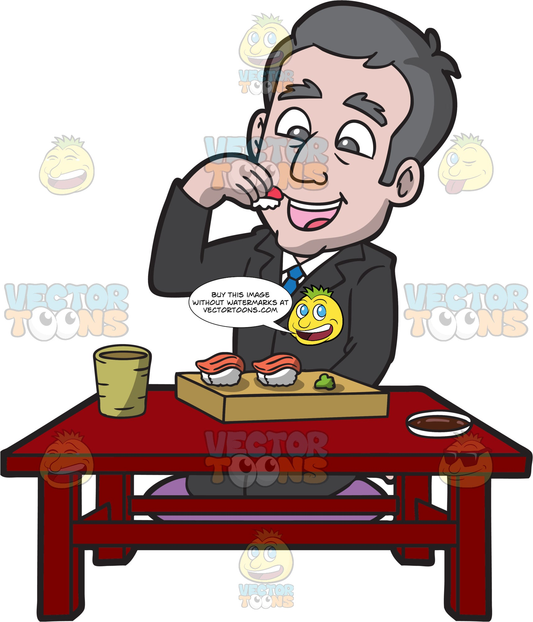 A Businessman Eating Sushi