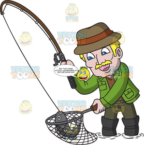An Old Man Catching A Fish Clipart Cartoons By Vectortoons