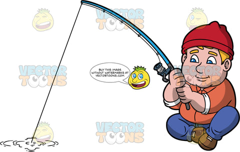 Sam Enjoying A Day Out Fishing. A chubby man wearing blue pants, an orange shirt, brown shoes, and a red hat, sitting at the edge of a stream and holding his fishing rod hoping to catch a fish
