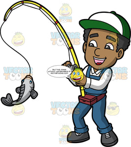 Jimmy Catching A Fish. A black man wearing blue overalls, a white shirt, dark gray shoes, and a green and white baseball hat, reeling in a fish caught on the line of his fishing rod