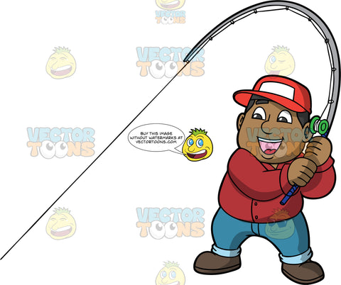 James Catching A Big Fish. A chubby black man wearing blue jeans, a burgundy shirt, brown boots, and a red baseball cap, smiles as he pulls on his fishing rod hoping that he caught a fish