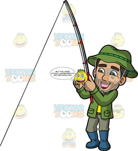 Gabriel Reeling In A Big Fish. A Hispanic man wearing gray pants, a green jacket  over a yellow shirt, blue rubber boots, and a green hat, smiles and holds onto his fishing rod as he reels in the line