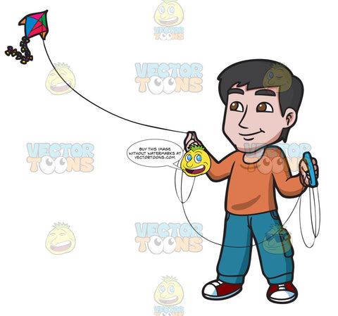 A Contented Guy Flying A Kite