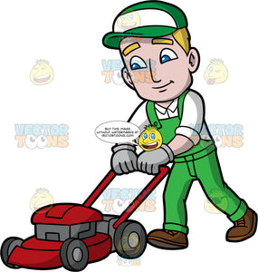 A Man Cutting The Grass With A Lawnmower. A man with dark blonde hair and blue eyes, wearing green overalls, a white shirt, brown shoes, gray gloves, and a green and white hat, walking behind a red lawnmower that is cutting the grass