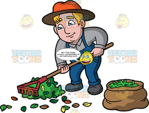 A Chubby Man Raking Leaves. A man with dark blonde hair and blue eyes, wearing blue overalls, a gray shirt, dark gray shoes, and an orange sun hat,  using a rake to gather leaves and put them in a brown bag next to him