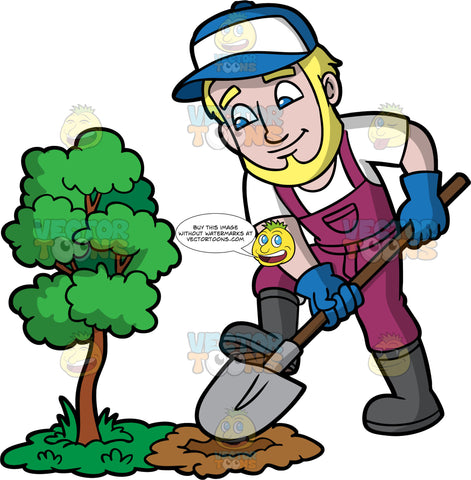 A Man Digging A Hole Next To A Small Tree. A man with blonde hair, a beard, and blue eyes, wearing purple overalls over a white t-shirt, dark gray rubber boots, blue gloves, and a blue and white hat, using a large shovel to dig a hole next to a baby tree