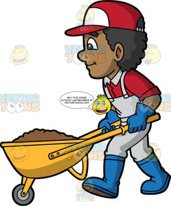 A Man Pushing A Wheelbarrow Full Of Dirt. A black man wearing gray overalls over a red shirt, blue rubber boots, blue gloves, and a red and white hat, pushing a yellow wheelbarrow filled with soil
