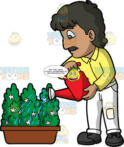 A Man Watering A Green Plant With White Flowers. A man with light brown skin, dark brown hair, and a mustache, wearing white pants, a yellow shirt, and black shoes, using a red watering can to water a potted green plant with small white flowers