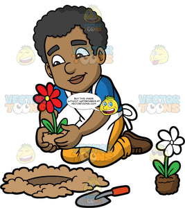 Jimmy Planting Flowers In His Garden. A black man wearing yellow pants, a blue t-shirt, a white apron, and brown shoes, kneeling down and planting a red flower in a hole in the ground