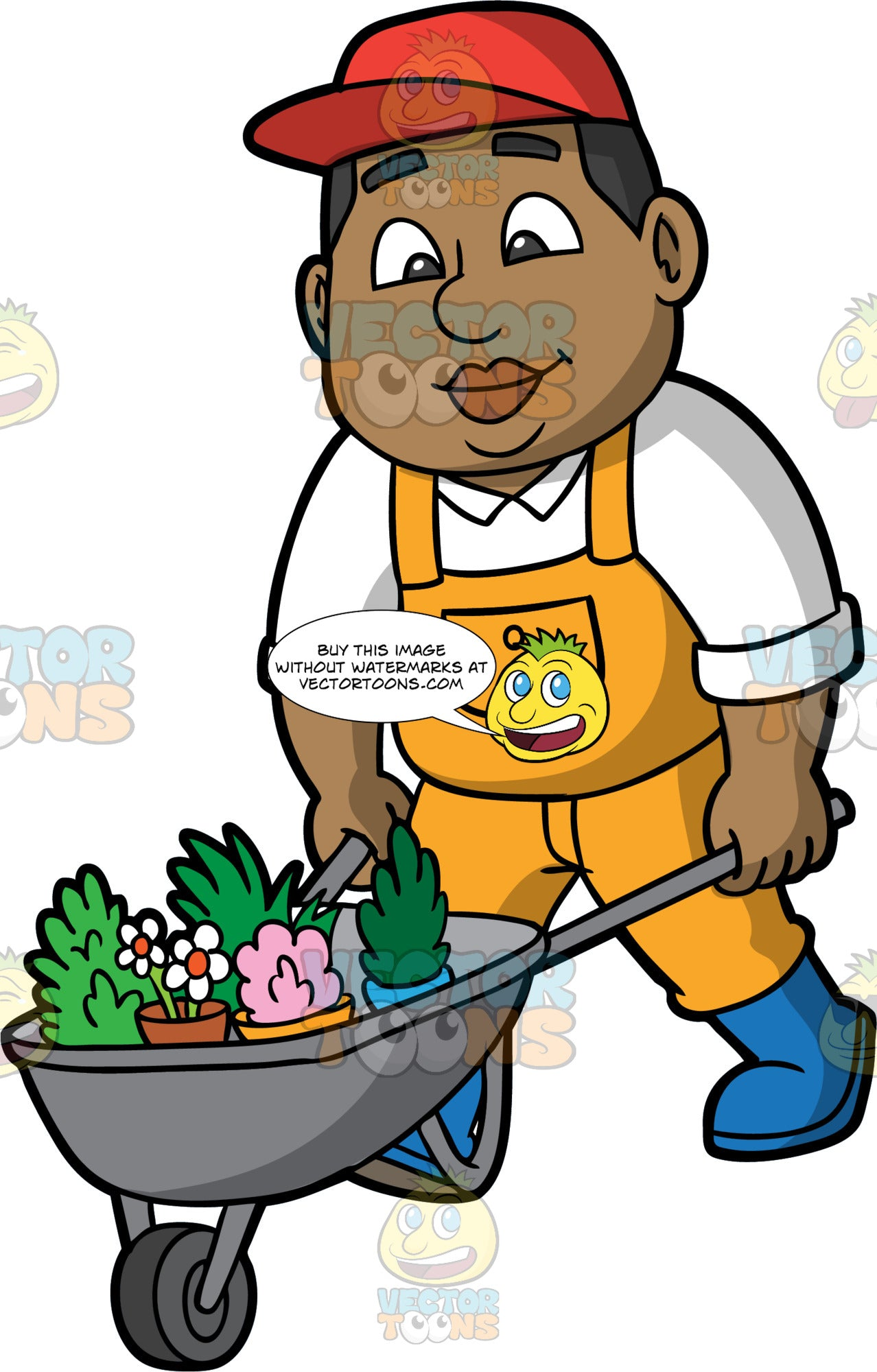 James Pushing A Wheelbarrow Filled With Plants. A Black man wearing yellow overalls over a white shirt, blue boots, and a red hat, pushing a metal wheelbarrow full of a variety of plants