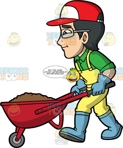 Simon Pushing A Wheelbarrow Filled With Soil. An Asian man wearing yellow overalls over a green shirt, blue rubber boots, a red and white baseball cap, eyeglasses, and blue gardening gloves, pushing a red wheelbarrow full of dirt