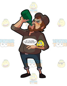 A Man Chugging A Whole Bottle Of Alcoholic Drink