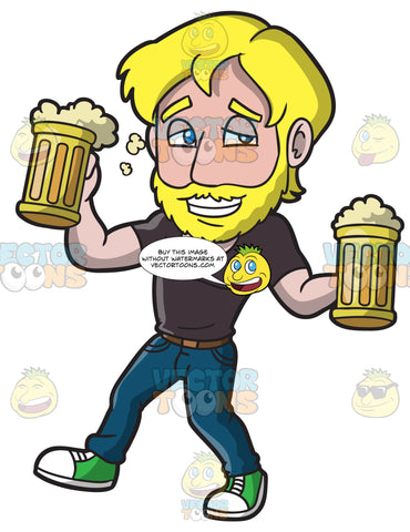 A Drunk Man Carrying Mugs Of Beer
