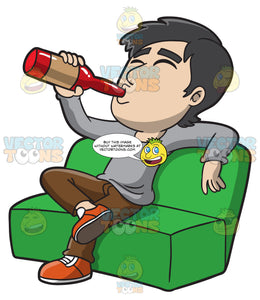 A Man Getting Drunk On The Couch