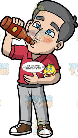 Bob Drinking A Bottle Of Beer. A tipsy mature man, wearing light gray pants, a red shirt, and brown and white sneakers, standing and drinking beer from a bottle
