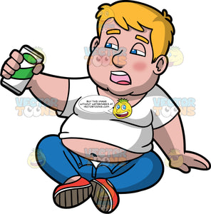 Sam Sitting On The Floor Looking Very Drunk. A chubby man wearing blue pants with the button undone, a white t-shirt that has lifted up showing his belly, and red shoes, sits on the floor supporting himself with one hand, while the other hand holds a can of beer