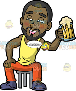 Calvin Looking Tipsy As He Holds Up A Mug Of Beer. A tipsy black man wearing orange pants, a yellow tank top, and purple shoes, sits on a stool and smiles as he lifts up a mug filled with beer
