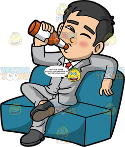 Kevin Sitting Down Drinking A Beer. A drunk looking Asian man wearing a light gray suit, white shirt, and red tie, sitting on a couch with one eye closed, drinking a bottle of beer