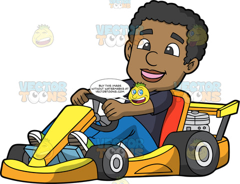 A Happy Black Man Racing Around In A Yellow Go-Kart. A black man wearing blue pants and a navy blue shirt, smiles as he steers the yellow go-kart he is sitting in