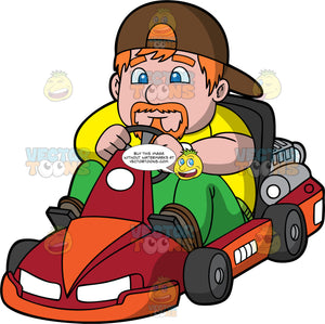 A Chubby Man Driving A Go-Kart. A chubby man with orange hair and goatee, wearing a yellow shirt, green pants and a brown baseball cap worn backwards, concentrates as he steers a red and orange go-kart