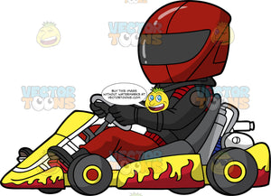 A Man Racing A Yellow And Red Go-Kart. A man wearing a full face red helmet, black racing jacket, red racing pants, black boots and black racing gloves, driving a yellow go-kart with red flames