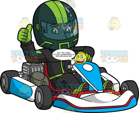 A Man Gives The Thumbs Up After Just Finishing A Go-Kart Race. A Man wearing a full face black helmet with green stripes, black and green racing suit, and green racing gloves, gives the thumbs up with on hand, while the other hand holds onto the steering wheel of a blue and white go-kart