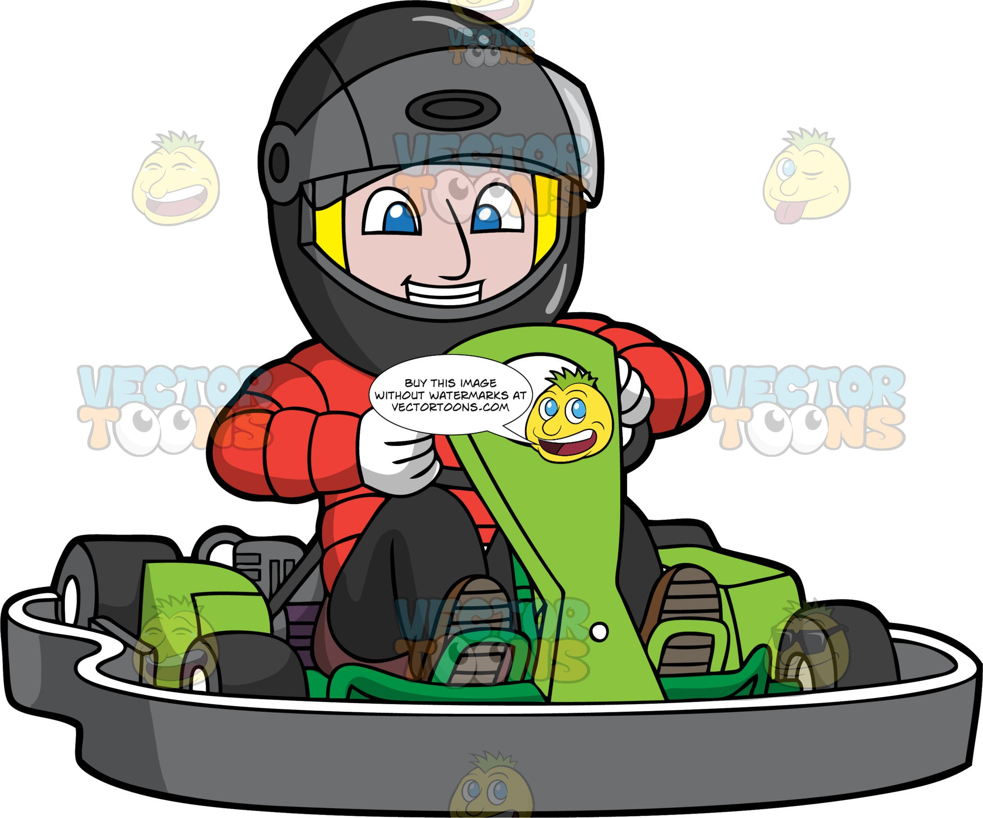 A Happy Man Having Fun Driving A Go-Kart. A man wearing a full face helmet with the visor lifted up, red jacket and black pants, smiles as he drives around in a green go-kart