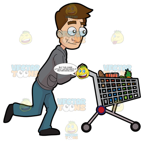 A Man Pushing A Grocery Cart