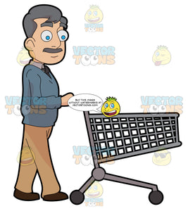 A Middle Age Man Pushing An Empty Grocery Cart