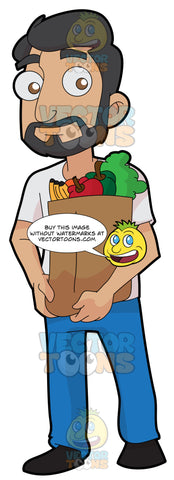 A Man Carrying A Paper Bag Full Of Fruits And Vegetables