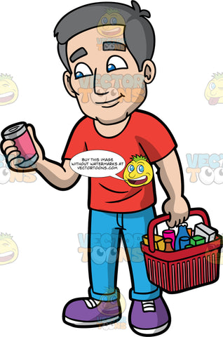 Bob Shopping For Groceries. A mature man with gray hair and blue eyes, wearing blue pants, a red t-shirt, and purple shoes, holding a basket filled with groceries in one hand, while looking at the label of a can he is holding in his other hand