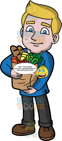 Matthew Holding A Bag Of Groceries. A man with dirty blonde hair and blue eyes, wearing black pants, a dark blue shirt, and brown shoes, holding a paper bag filled with groceries in his arms