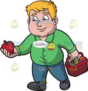 Sam Grabbing An Apple To Put In His Grocery Basket. A man with dark blonde hair and blue eyes, wearing blue pants, a green button down shirt, and dark gray shoes, holding a red apple in one hand, and a basket filled with groceries in the other