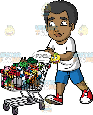 Jimmy Pushing A Shopping Cart Filled With Groceries. A black man wearing dark blue shorts, a white t-shirt, and red sneakers, pushing a cart filled with vegetables, and other various groceries